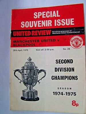 Football Programme, Manchester United, Blackpool. Souvenir Issue, 1975