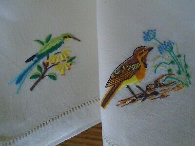 Pair Of Vintage Hand Embroidered Pure Linen Tea Napkins - Birds