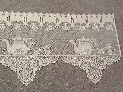 Lace Window Valance White Tea Pot design 60 W x 14.5 6L