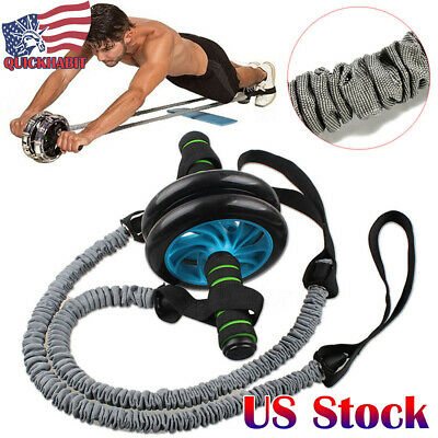 Ab Roller Wheel Pull Rope Waist Abdominal Slimming Fitness Exercise Equipment
