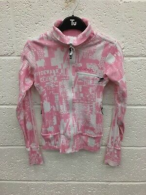 Girls Pink/white Zip Up Top/jacket By BENCH Size S