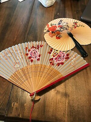 """Large Oriental Vtg Hand Painted Chinese Fan Decorative Wall Hanging Art 16"""" Lot"""