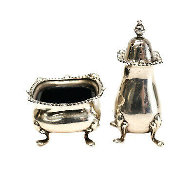 Tiffany & Co English Sterling Silver & Cobalt Glass Open Salt & Pepper Shakers