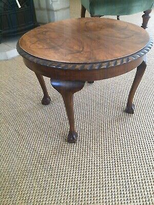 Vintage Reproduction Burr Walnut Coffee Table With Ball And Claw Feet