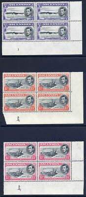Ascension 1938-53 Kgvi Defin Four Different Values In Plate 1 Blocks Of 4 Vfum