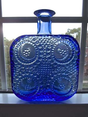 Scandinavian Finland Art Glass Textured Blue Grapponia Square Bottle Flask Vase