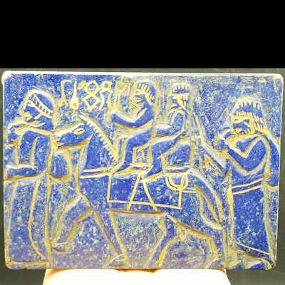 Lapis lazuli old Rare Unique stone King caravan Big Stone Relief tablet   # 58