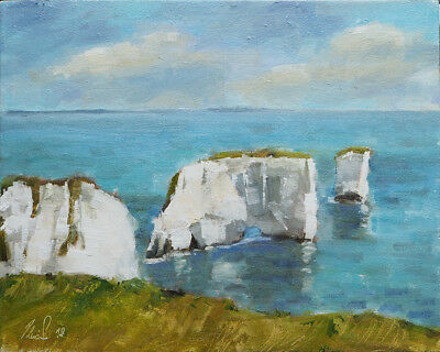 Old Harry Rocks - impressionist, landscape, seascape, oil painting, Art.