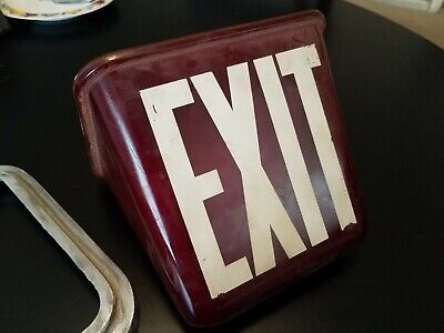 Vintage Ruby Red Glass Exit Sign Double sided Triangle Globe  ceiling mount