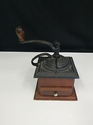 Vintage Decor Cast Iron And Wood Coffee Hand Crank GrInder Mill