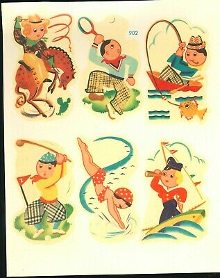 Meyercord Sports Swimming Golf Fishing Rodeo Sailor Decals #902 1940's rare
