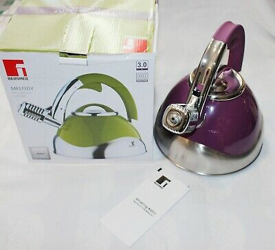 Bergner Melody Stove Top Whistling 3L Kettle Induction Gas Hob S/Steel In Purple