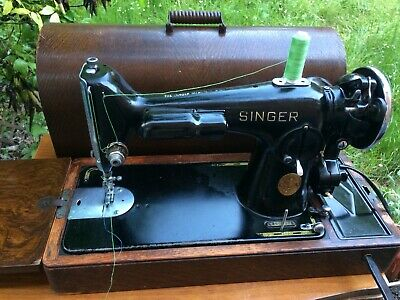 Vintage Electric Singer Sewing Machine Model 201K-2 with Potted Motor