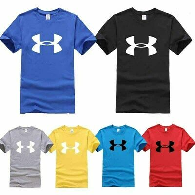 Mens T-Shirt Short Sleeve Gym Solid Pullover Summer Sports Training Fitness Tops