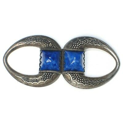 Lapis Lazuli blue stone metal Ladies OLD dress Belt Buckle