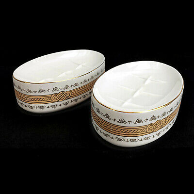 Vintage Porcelain Oval Soap Dish with Hollywood Gold Rope Japan