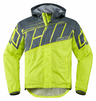 ICON PDX 2 Waterproof Nylon Motorcycle Rain Jacket (Hi-Viz) L (Large)
