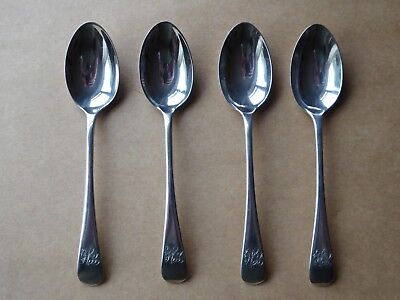 Set of 4 Antique Victorian Solid Silver Tea Spoons Sheff 1896 Old English
