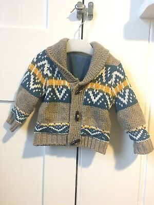 Baby Boy Mothercare Fairisle Lined Cardigan 3-6 Months