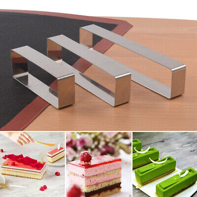 3 Size Stainless Steel Mousse Moulds Rectangle Cake Making Molds Baking AU