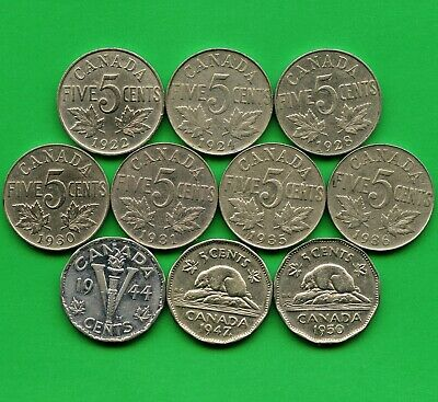 10 Canada 5 Cent Coins 1922 1924 1928 1930 1931 1935 1936 1944 1947Maple Lf 1950