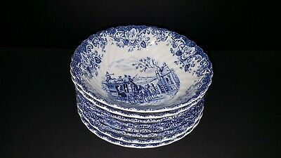Johnson Brothers  Coaching Scenes Blue Cereal Bowls Set of 8