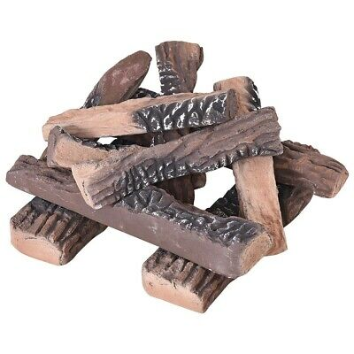 10PC Costway (LARGE SIZE) Ceramic Wood Imitation Logs Gas Fireplace, Firepit