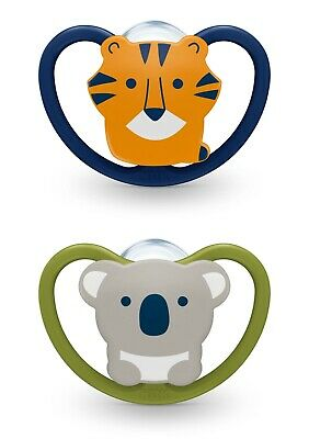 NUK 0-6 Months Koala Bear & Tiger Space Orthodontic Pacifiers 2-Pack