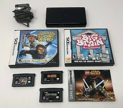 Nintendo DS Lite Handheld Console Bundle - Onyx Black -w/  5 Games GBA Tested