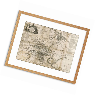 Wee Blue Coo STRANGERS GUIDE OLD MAP EDINBURGH LEITH SMALL FRAMED ART PRINT F97X
