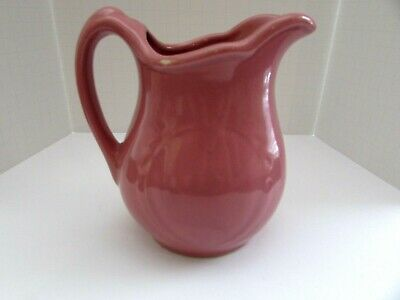 "Antique Art Deco Pottery Pitcher 5 1/4"" American Made Pink Mauve"