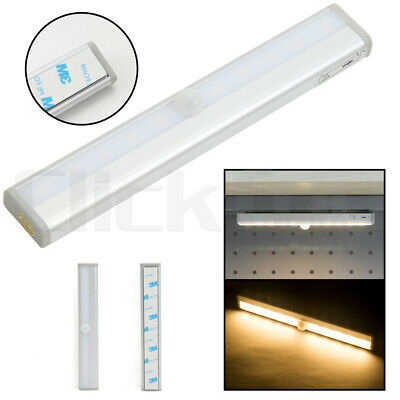 10 LED PIR Motion Sensor Detector Night Light Magnetic Strip Battery Operated AU