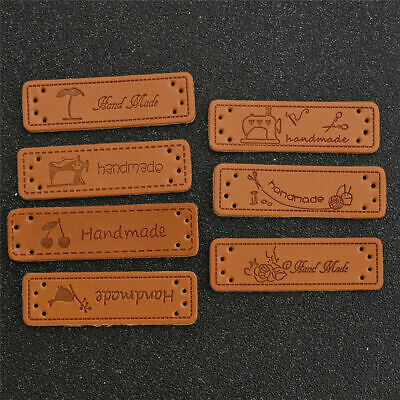 50Pcs PU Leather HANDMADE Labels Butterfly Cherry Tags Clothing Sewing Supplies