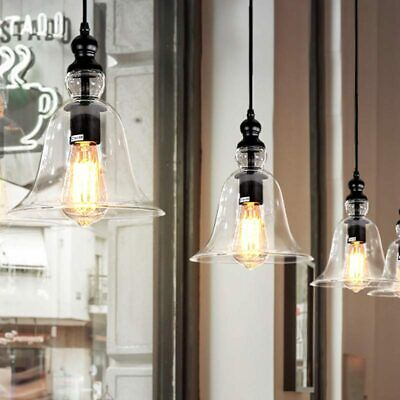 3X Kitchen Pendant Lighting Industrial Antique Bell Glass Shade Hanging Fitting