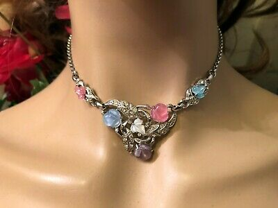 Trifari Aflred Philippe Fruit Salad Pastel Molded Glass Floral Leaf Necklace