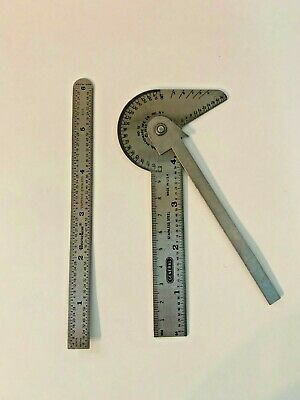 "VTG General Hardware No 16 Steel Protractor Ruler & Gauge & 6"" CentreLine Ruler"