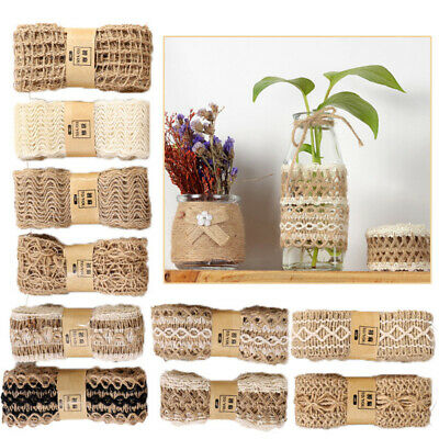Natural Burlap Ribbon Lace DIY Wedding Party Crafts 2M/Roll Jute Linen Ribbon