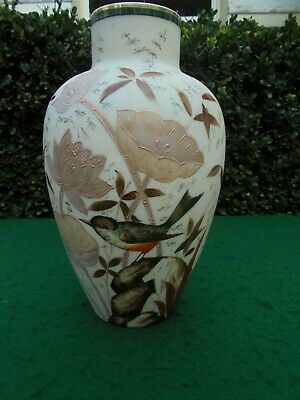 ANTIQUE FRENCH HAND ENAMELLED MILK GLASS VASE c1890 RED ROBIN AND FLOWERS