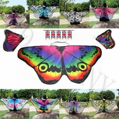 Kids Girls Fairy Butterfly Wings Costume Princess Shawl Cape Cloak Dance Props