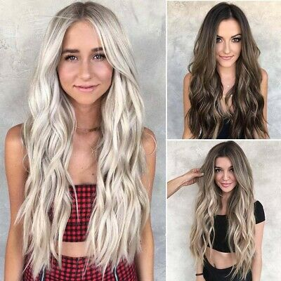70cm Women Lady Girl Ombre Long Wave Wig Curly Charm Fashion for Party Cosplay