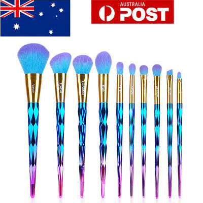 AU 11pcs Unicorn Makeup Brush Set Powder Blend Foundation Eyeshadow Angle Brush