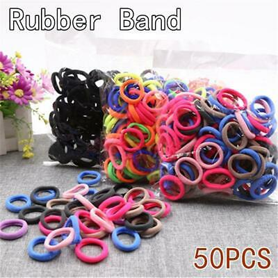 50Pcs Black Colorful Elastic Rubber Bands For Girls Ponytail Holder Hair bands