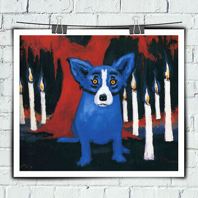 Amial Blue Dog Cartoon Wall Art Painting HD Prints on Canvas Home Decor 16x20