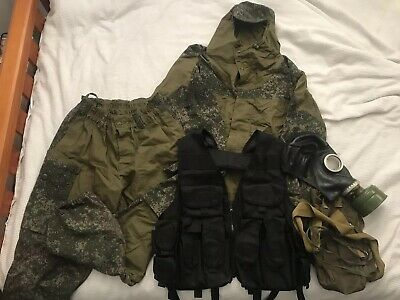 Russian Military Issue Gorka Suit W/tac AK47 Mag Vest & Original USSR Gas Mask