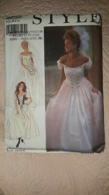 STYLE c1992 Sewing Dress Pattern 2255 Wedding Bridal Gown Bridesmaid 6-16 UNCUT!