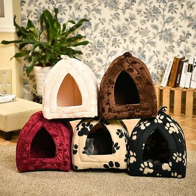 Paw Print  Pet Dog Cat Cave Bed Small Warm Igloo Nest House Puppy Tapered Kennel