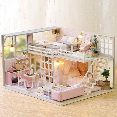 DIY DOLL HOUSES Miniature Wooden Dollhouse Kit Pairs Coffee & Cake