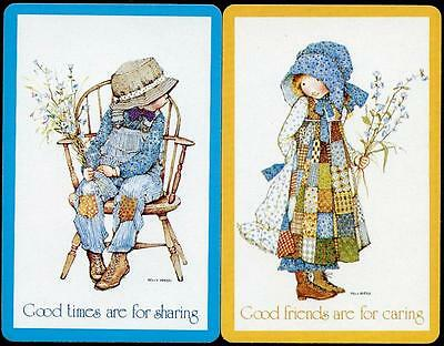 Holly Hobbie Swap Card Pair Boy On Chair And Girl With Flowers (New)