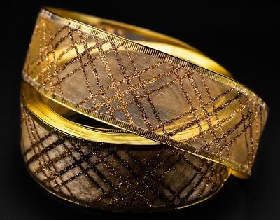CHRISTMAS 2 METERS 38MM WIDE WIRE EDGED  RIBBON, GOLD, GLITTER, New