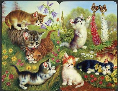 Pussy Cats And Kittens Swap Cards/Playing Card Pair Brand New So Gorgeous